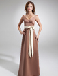 A-Line/Princess V-neck Floor-Length Satin Bridesmaid Dress With Sash Bow(s) (007001824)