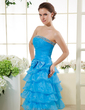 A-Line/Princess Strapless Knee-Length Organza Homecoming Dress With Beading Bow(s) Cascading Ruffles (022015445)