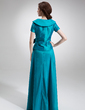 A-Line/Princess V-neck Floor-Length Taffeta Mother of the Bride Dress With Ruffle Bow(s) (008006023)