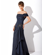 A-Line/Princess Off-the-Shoulder Sweep Train Taffeta Mother of the Bride Dress With Ruffle Appliques Lace Sequins (008021110)