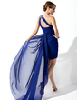 Sheath/Column One-Shoulder Watteau Train Chiffon Cocktail Dress With Ruffle Beading (016008375)