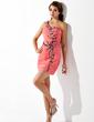 Wąska Jednoramienna Krótka/Mini Szyfon Sukienka na Zjazd Absolwentów Z Żabot Perełki Cekiny (022010189)