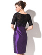 Sheath/Column Scoop Neck Knee-Length Taffeta Lace Mother of the Bride Dress With Ruffle (008051147)