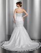 Trumpet/Mermaid Strapless Chapel Train Satin Wedding Dress With Lace Beading (002014821)