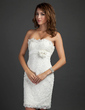 Sheath/Column Strapless Short/Mini Lace Cocktail Dress With Beading Flower(s) Cascading Ruffles (016015339)