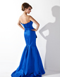 Trumpet/Mermaid Scalloped Neck Sweep Train Satin Evening Dress With Ruffle Beading Appliques Lace Sequins (017013778)