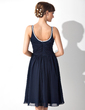 A-Line/Princess V-neck Knee-Length Chiffon Bridesmaid Dress With Ruffle (007015103)