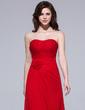 Sheath/Column Sweetheart Floor-Length Chiffon Bridesmaid Dress With Ruffle Flower(s) (007037167)