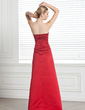 Sheath/Column Strapless Floor-Length Satin Bridesmaid Dress With Ruffle Beading (007001065)