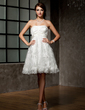 Empire Strapless Knee-Length Lace Wedding Dress With Ruffle Beading (002000221)