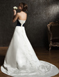 Ball-Gown Sweetheart Chapel Train Satin Wedding Dress With Embroidered Sash Beading (002004584)