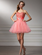 A-Line/Princess Sweetheart Short/Mini Tulle Homecoming Dress With Ruffle Beading (022010534)