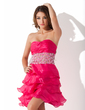 A-Line/Princess Sweetheart Short/Mini Organza Homecoming Dress With Beading Cascading Ruffles (022011138)