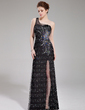 Sheath/Column One-Shoulder Floor-Length Tulle Prom Dress With Beading Split Front (018019690)