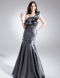 Trumpet/Mermaid One-Shoulder Sweep Train Taffeta Prom Dress With Ruffle Beading (018015905)