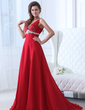 A-Line/Princess V-neck Court Train Chiffon Evening Dress With Ruffle Beading (017017532)