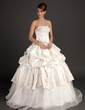 Ball-Gown Strapless Floor-Length Satin Organza Wedding Dress With Embroidered Beading Flower(s) Bow(s) (002015516)