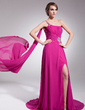 A-Line/Princess One-Shoulder Watteau Train Chiffon Evening Dress With Ruffle Beading Split Front (017014572)