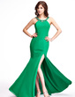 Trumpet/Mermaid Scoop Neck Sweep Train Chiffon Evening Dress With Ruffle Beading Split Front (017022810)