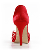 Women's Satin Cone Heel Peep Toe Platform Sandals (047016562)