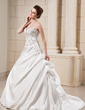 Ball-Gown Sweetheart Chapel Train Satin Wedding Dress With Embroidered Ruffle Beading (002001649)
