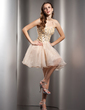 A-Line/Princess Halter Short/Mini Organza Homecoming Dress With Beading (022009016)