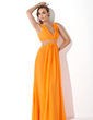 A-Line/Princess V-neck Floor-Length Chiffon Prom Dress With Ruffle Beading (018004849)