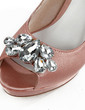 Women's Satin Cone Heel Peep Toe Platform Sandals With Rhinestone (047026675)