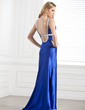 Sheath/Column Scoop Neck Sweep Train Charmeuse Evening Dress With Ruffle Beading (017002274)