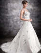 Ball-Gown V-neck Chapel Train Satin Organza Wedding Dress With Appliques Lace Sequins (002016888)