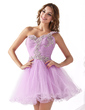 A-Line/Princess One-Shoulder Short/Mini Tulle Homecoming Dress With Ruffle Appliques Lace Sequins (022020900)