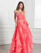A-Line/Princess Strapless Floor-Length Organza Quinceanera Dress With Embroidered Beading Sequins Cascading Ruffles (021020694)