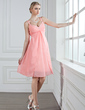 A-Line/Princess Sweetheart Knee-Length Chiffon Bridesmaid Dress With Ruffle Beading (007005243)