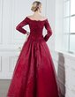 A-Line/Princess Off-the-Shoulder Floor-Length Organza Mother of the Bride Dress With Lace Beading (008002222)