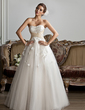 Ball-Gown Sweetheart Floor-Length Tulle Charmeuse Wedding Dress With Ruffle Sash Beadwork Appliques Flower(s) (002013803)