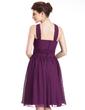 A-Line/Princess Halter Knee-Length Chiffon Bridesmaid Dress With Ruffle (007026277)