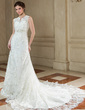 A-Line/Princess V-neck Chapel Train Organza Wedding Dress With Beading Appliques Lace (002004780)