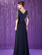 A-Line/Princess V-neck Floor-Length Chiffon Mother of the Bride Dress With Ruffle Beading Sequins (008018715)