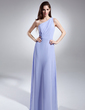 A-Line/Princess One-Shoulder Floor-Length Chiffon Bridesmaid Dress With Ruffle (008015616)