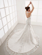 Trumpet/Mermaid Halter Cathedral Train Tulle Lace Wedding Dress With Beading (002001251)