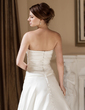 A-Line/Princess Strapless Court Train Satin Wedding Dress With Ruffle Beading (002000603)