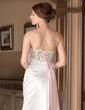 A-Line/Princess Sweetheart Court Train Satin Wedding Dress With Ruffle Lace Sash Beading Bow(s) (002012934)
