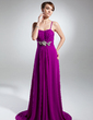 A-Line/Princess Sweetheart Sweep Train Chiffon Evening Dress With Ruffle Beading (017015321)