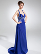 Sheath/Column Sweetheart Sweep Train Charmeuse Prom Dress With Ruffle Sequins (008015739)