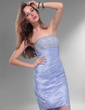 Sheath/Column Strapless Knee-Length Taffeta Homecoming Dress With Ruffle Beading (022013059)