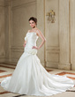 A-Line/Princess Scalloped Neck Chapel Train Satin Wedding Dress With Ruffle Flower(s) (002000658)