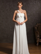 Empire One-Shoulder Floor-Length Chiffon Chiffon Maternity Bridesmaid Dress With Ruffle Bow(s) (020015083)