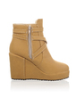 Leatherette Wedge Heel Ankle Boots With Buckle shoes (088036906)