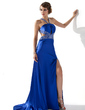 A-Line/Princess V-neck Sweep Train Charmeuse Prom Dress With Beading Sequins Split Front (018005250)