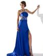 Linia A/Księżniczka V-Dekolt Tren Dotykający ziemi Charmeuse Sukienka na Bal Maturalny Z Frezowanie cekiny Podział przednia (018005250)